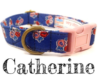 LAST ONES - Blue Floral Dog Collar - English Country Fabric - Organic Cotton - Antique Brass Hardware - The Catherine