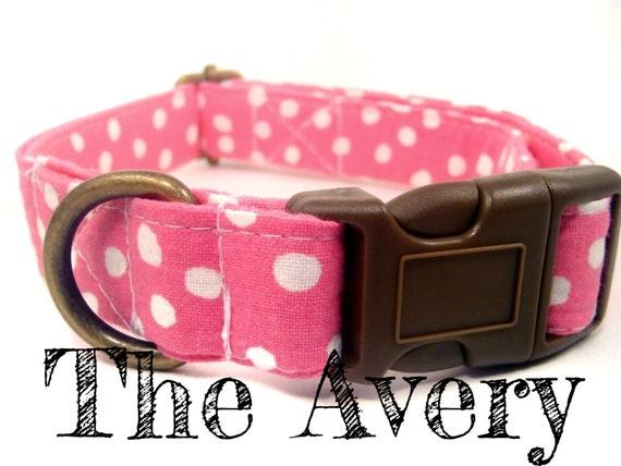 "Pink Polka Dot Girl Dog Collar - Organic Cotton - Antique Brass Hardware - ""The Avery"""