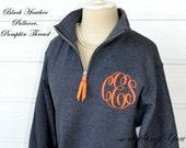 Monogrammed Pullover with Quarter Zip - Monogram Sweatshirt, Monogram Pullover, Monogrammed Quarter Zip