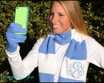 Gift Set - Personalized Scarf and Texting Gloves Set -  Personalized gameday scarf and iphone gloves, Monogrammed Scarf smart phone Gloves