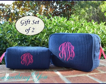 Personalized Cosmetic Bag Gift Set of 1 Large and 1 Small Size Bags-  Navy Blue Monogrammed makeup bags, bridesmaids cosmetic bags, monogram