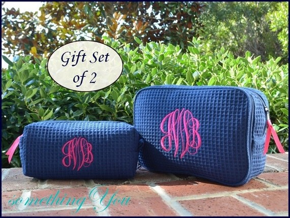 personalized cosmetic bag gift set of 1 large and 1 small size