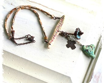 Handcrafted artisan necklace, Rustic heart necklace, Protection necklace, Boho assemblage necklace, Mixed media necklace, Bohemian necklace