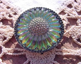 Ebony Framed Inner Fire Sunflower Czech Glass Button