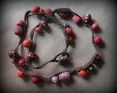 Beaded, Crocheted, Necklace, Handmade, Original, Hand Painted, Handmade Clay Beads, Tribal, Bohemian