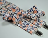 Men's Bow Tie and Suspender Set - Peach and Navy Blue Floral