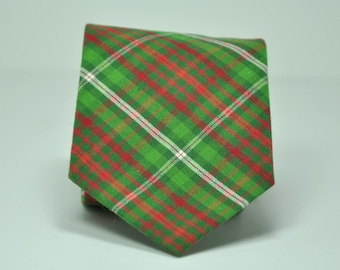 Green and Red Plaid Men's Necktie - Christmas Necktie