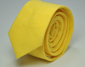 Men's Skinny Necktie Bright Mustard Yellow Linen Tie