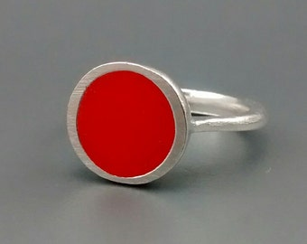 Opaque Orange and Sterling Silver Ring