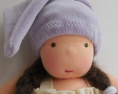 10 - 12 inch waldorf doll hat, lavender cap, Waldorf style Doll clothes