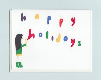 Happy Holidays bubbles - papercut collage card