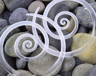 6G | Clear Seaglass | Spirals | Gauged Glass Body Jewelry for Stretched Piercings by Glassheart