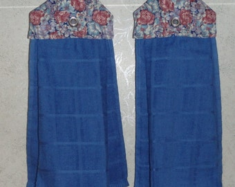 Set of 2 - Hanging Cloth Top Kitchen Hand Towels - Cabbage Rose Print, BLUE Towels