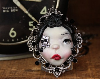 Original Cameo Sculpture Steampunk Black Hair, Skull with Bow Girl Necklace Pop Surrealism