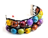 Ablet Knitting Abacus Row Counter Bracelet- Painted Rainbow- Gold Clasp