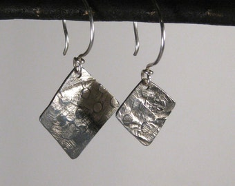 Mismatched Asymmetric Sterling Silver Dangle Earrings