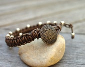Brown, Copper-Toned Leather Macrame Beaded Bracelet - The Guy