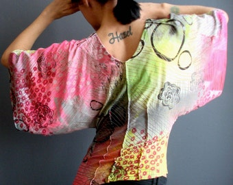 Womens Handmade Top, Asymmetric Neon Bell Sleeve Blouse, Unique Hand Printed Graffiti Print Wearable Art Top, Bright Colorful Jersey Shirt