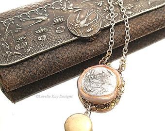 Swallow Bird Necklace Locket Delicate Filigree Bird Dainty Necklace
