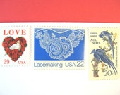 Wedding Postage Stamps Vintage, Lace Stamps, Love Dove Red Rose Stamps, Blue Jays Audubon, Mail 20 Wedding Invites 2 oz 71c, red white blue