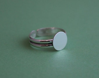Sterling Silver Ring Blank with Double Half-Round Adjustable Shank