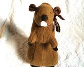 Woodland Piney Plush Toothy Brown wool BEAVER