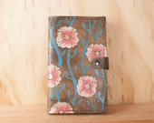 Leather Journal - Moleskine Journal - Journal with flowers and vines  - Handmade Journal in pink turquoise and antique black