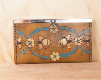 Leather Checkbook Wallet -  Clutch Wallet - Womens Wallet - Melissa Pattern with bees - turquoise, yellow, gold and antique brown -