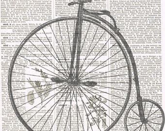 Crow.Bird.Bike.Bicycle.Altered Vintage Book PagePrint.Vintage.steam punk,gift home deco.christmas.nursery.goth.child.unisex.paris.french.art