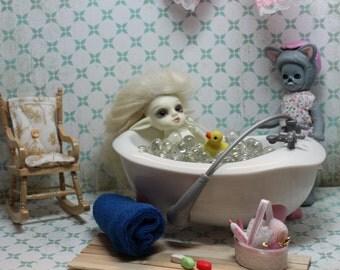 1:12 1/12 RealPuki Amelia Thimble Petite Blythe Miniature Dollhouse Bathtub Bath Set