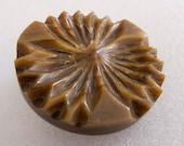 Large Vintage Caramel and Brown Carved Sculptural Flower Button - 38mm