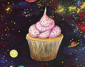 """Painting Original Art """"Cupcake in Space"""" on Unstreatched Canvas by Surly Amy Davis Roth"""