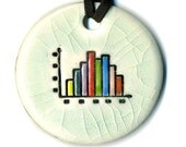 Statistical Distribution Histogram or Bar Graph Ceramic Necklace in Crackle