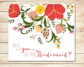 Will you be my Bridesmaid Card - Will you be my Maid of Honor Card - Matron of Honor Card - Flower Girl Card