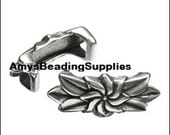 INVENTORY SALE:  2 Regaliz Flower and Leaves Bar Spacer - Antique Silver