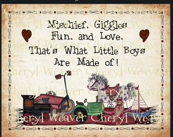 Giggles and Grins - Little Boys Poem    8 by 10 Inch Original Primitive Folk Art Print  by Cheryl Weaver