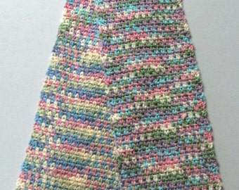 Scarf - Hand Crocheted Women / Teen / Girl  -  Pink, Purple, Turquoise, Green and Cream