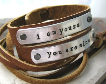 I am Yours, You are Mine, adjustable Leather Cuff Bracelet set, 1/2 inch wide, customize up to 15 characters, couples jewelry, his and hers