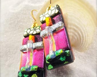 Fused dichroic earrings, gold filled earrings, women's handmade earrings, handcrafted jewelry, one of a kind, pink red earrings, trending