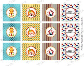 Printable Circus Birthday Cupcake Toppers - Instant Download