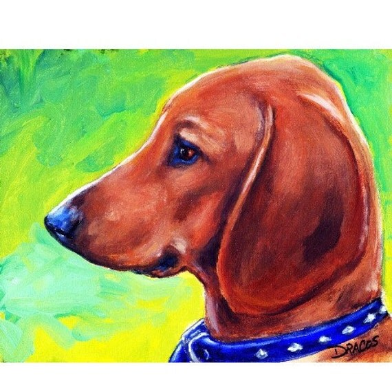 Dachshund Art Original Acrylic Painting 8x10 Red Doxie Pup