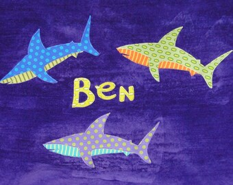 Personalized Large Purple Velour Beach Towel with Sharks, Pool Towel, Camp Towel, Kids Bath Towel, Baby Towel, Bridal Party Gift, Bath Towel
