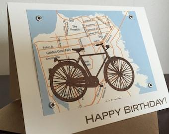 San Francisco Bike and Map Birthday Card - Screen-Printed Card