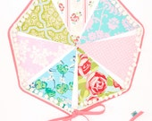 Shabby Chic Pompom Trimmed Fabric Flag Bunting, Girls Banner Featuring 7 Large Flags. Garland Banner, Photo Prop, Decoration. Pink and Aqua.