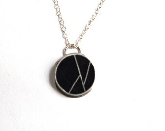 Silver and Black Resin Handmade Necklace, Handmade Jewelry, Resin Necklace, Black Necklace, Layering Necklace, Handmade Necklace, Jewelry