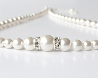 White Pearl Necklace, Pearl and Crystal Necklace, Pearl Bridal Necklace, Bridesmaid Jewelry, Bridal Accessory, Pearl Strand, Swarovski
