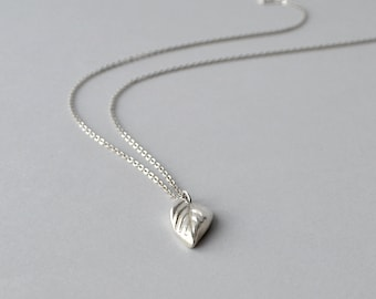Silver Leaf Necklace, Silver Pendant Necklace, Simple Silver Necklace, Leaf Pendant with Silver Chain, Metal Work Necklace, Handmade Jewelry
