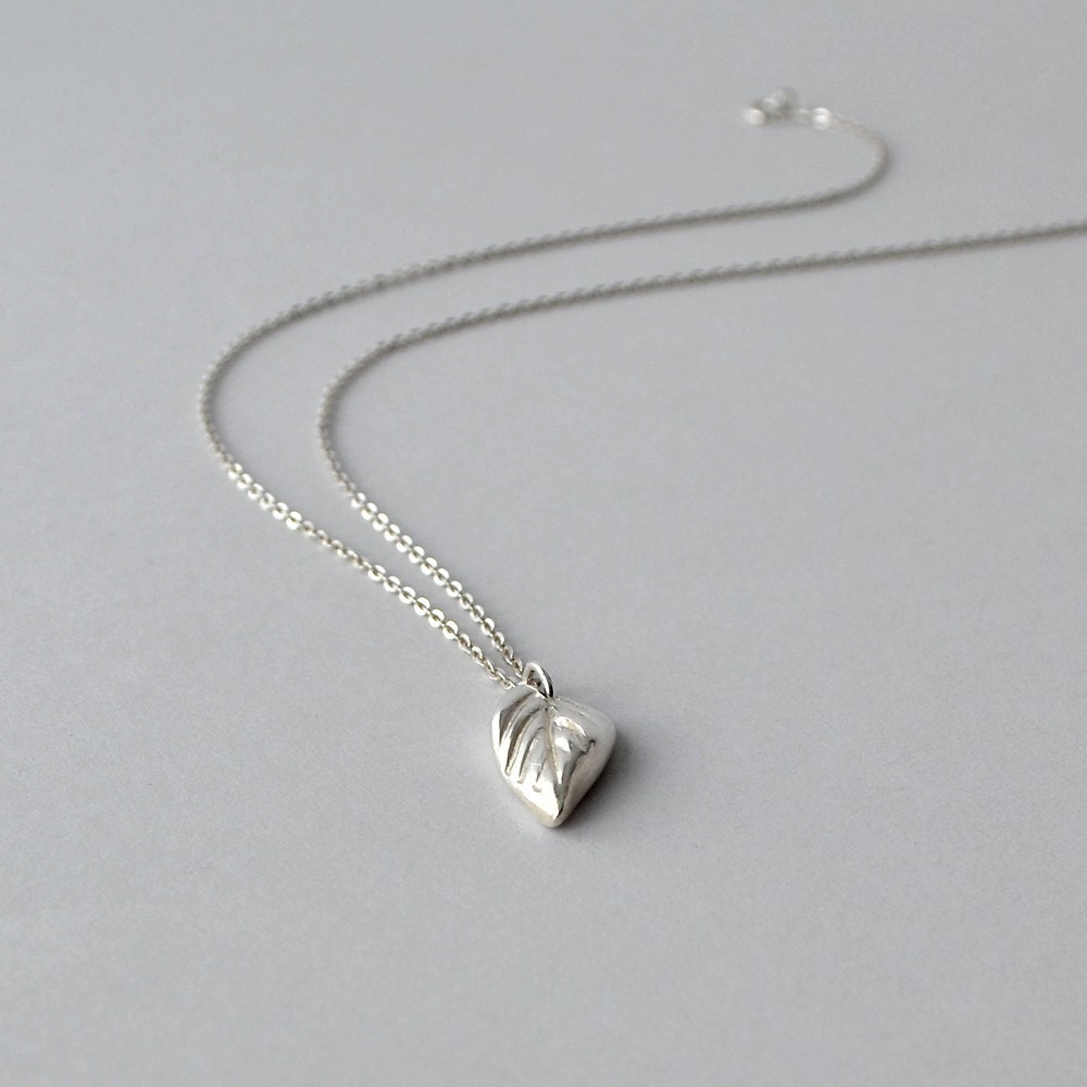 Silver Leaf Necklace Silver Pendant Necklace Simple Silver
