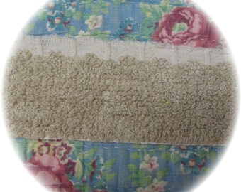 Vintage Chenille Bedspread Quilt Trim Fringe 4 yards 28 inches Flat Retro Tan Brown