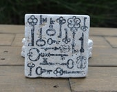 Antique Keys Natural Stone Coasters. Set of 4. Engagement, Wedding Gift
